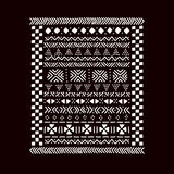 Черно-белая традиционная африканская печать ткани mudcloth, вектор иллюстрация штока
