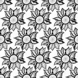 Черно-белая флористическая волшебная безшовная картина также вектор иллюстрации притяжки corel Стоковые Изображения