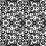 Черно-белое безшовное с круглыми орнаментами Стоковая Фотография