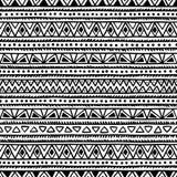 Черно-белое безшовное этническое происхождение Стоковые Фотографии RF