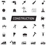 Черно-белое гражданское строительство силуэта, работа обслуживания, Стоковое Изображение