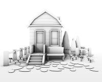Черно-белое здание 0 Стоковые Изображения RF