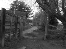 Черно-белое изображение маленького города Стоковые Фотографии RF