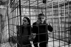 Черно-белое изображение impri жертв хеллоуина пар испуганного Стоковые Изображения