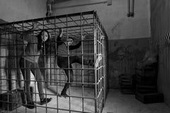 Черно-белое изображение imprisone 2 молодого жертв хеллоуина Стоковые Фото
