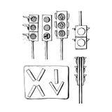Черно-белое собрание значков светофоров Стоковое Изображение RF