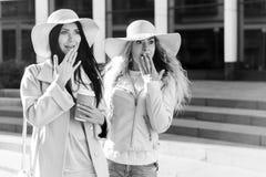Черно-белое фото жизнерадостных подруг Стоковые Изображения RF