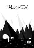 Черно-белое хеллоуина минимальное Стоковое Фото
