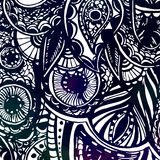 Черно-белой богато украшенной doodles нарисованные рукой с Стоковая Фотография