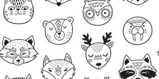 Черно-белой нарисованная рукой картина животных doodle безшовная бесплатная иллюстрация