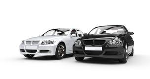 Черно-белые автомобили Стоковая Фотография