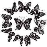 Черно-белые бабочки для дизайна Стоковые Фотографии RF