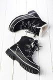 Черно-белые ботинки зимы Стоковые Изображения RF
