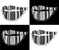 Черно-белые губы штрихкода. Стоковая Фотография