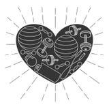 Черно-белые значки плана оборудования для разминки фитнеса в рамке сердца Бесплатная Иллюстрация