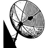 Черно-белые линии спутниковая антенна-тарелка Стоковое Фото