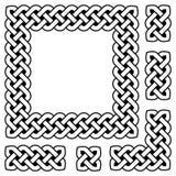 Черно-белые кельтские элементы рамки и дизайна узла Стоковое Изображение