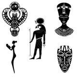 Черно- белые силуэты старого бога египетского Ра, Стоковая Фотография RF