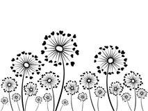 Черно-белые травы одуванчика вектора Стоковые Изображения RF
