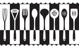 Черно-белые установленные утвари кухни Стоковые Изображения RF