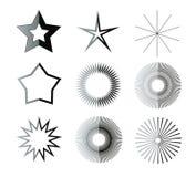 Черно-белые формы звезды Стоковые Фотографии RF