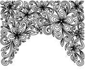 Черно-белые цветки и листья шнурка изолированные на белизне. Элемент флористического дизайна в ретро стиле. Стоковое фото RF