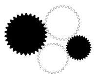 Черно-белые шестерни Стоковые Изображения