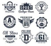 Черно-белые эмблемы спорта, вектор логотипов Стоковое Изображение