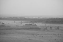 Черно-белый ландшафт утро лужка тумана над водой Стоковая Фотография