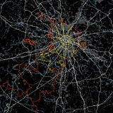 Черно-белый вектор карты Москвы Стоковая Фотография