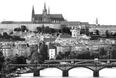 Черно-белый взгляд замка Праги Стоковое Изображение RF