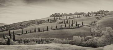 Черно-белый взгляд дороги и холма Val Dorcia ветреных стоковые изображения rf