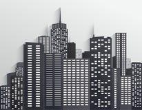 Черно-белый горизонт города иллюстрация вектора