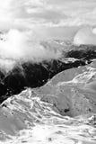Черно-белый горный вид на Шамони Стоковое Изображение RF