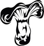 Черно-белый гриб, стиль чернил Стоковые Изображения RF