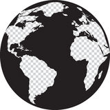 Черно-белый глобус с континентами прозрачности Стоковая Фотография RF