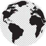 Черно-белый глобус с прозрачностью на морях иллюстрация штока