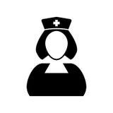 Черно-белый значок вектора медсестры Стоковая Фотография RF