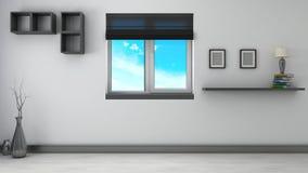 Черно-белый интерьер с окном иллюстрация 3d Стоковая Фотография
