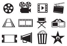 Черно-белый комплект значка вектора развлечений кино кино Стоковое Изображение