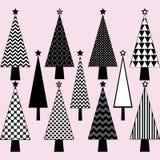 Черно-белый комплект рождественской елки Стоковые Изображения