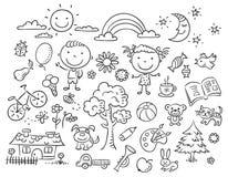 Черно-белый комплект doodle Стоковое Фото