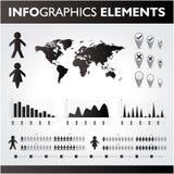Черно-белый комплект infographics. Стоковое Изображение RF