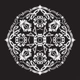 Черно-белый круглый изолированный конспект цветка Стоковая Фотография
