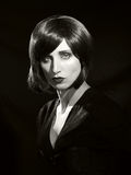 Черно-белый классический портрет очарования стиля Голливуда от th Стоковая Фотография RF