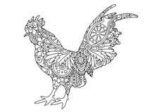 Черно-белый орнаментальный петух Стоковые Фотографии RF