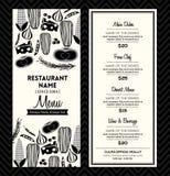Черно-белый план шаблона дизайна меню ресторана Стоковое фото RF
