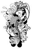 Черно-белый рисуя стиль татуировки японца карпа Koi Стоковое Фото
