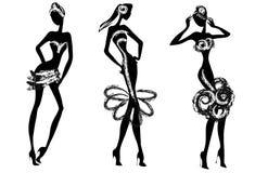 Черно-белый силуэт моды Стоковая Фотография