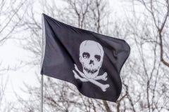 Черно-белый флаг пирата Стоковая Фотография RF